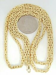 Men Women 10k Solid Yellow Gold 3.3mm Byzantine Link Chain Necklace 29.75 51.2g