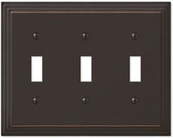 Tiered 3 Toggle Switch Wall Plate Cover Bronze Finish New Elegant Home Decor