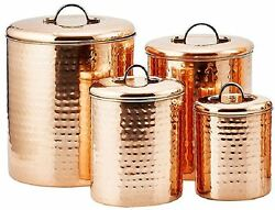 Hammered Copper Plated Steel 4-pc Canister Set Kitchen Decor Storage Container