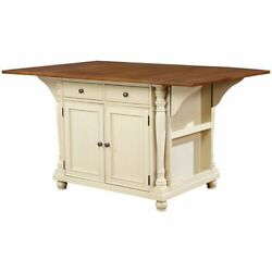 Bowery Hill Drop Leaf Kitchen Island In Brown And Buttermilk