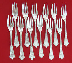 Persian By And Co. All Sterling Set Of 12 Pastry Forks 3-tine 6 1/4 Mn