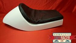 Cafe Racer Fibreglass Seat New Dominator Style Finished In White With Basic Pad