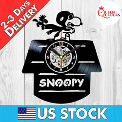 Snoopy Peanuts Cartoon Vinyl Record Wall Clock Baby Nursery Birthday Gifts Decor