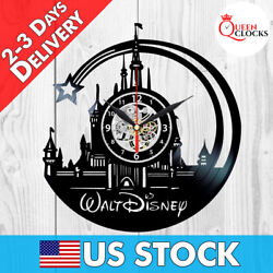 Disney World Theme Castle Logo Vinyl Record Wall Clock Princess Gifts Art Decor