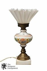 Antique Hand Painted Porcelain Desk Lamp Ruffled Pinched Shade Light Hurricane