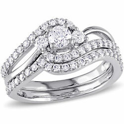 Amour 1 Ct Tw Diamond Crossover 3-stone Bridal Set In 14k White Gold
