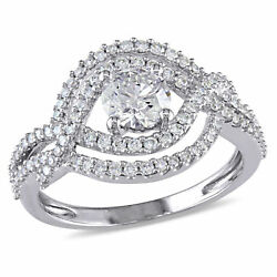 Amour 1 Ct Tw Diamond Crossover Engagement Ring In 10k White Gold