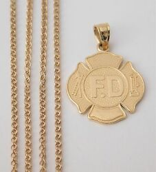 Real 14k Yellow Gold F.d Fire Department Charm Pendant Wheat Chain 20 Inch