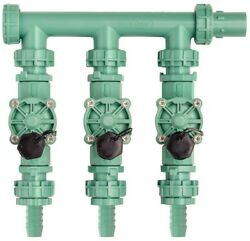 3-Valve Poly Pipe Water Flow Control UV-resistant Preassembled Manifold New