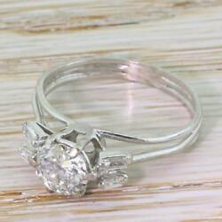 LATE 20th CENTURY 1.07ct OLD CUT DIAMOND ENGAGEMENT RING - 18k W. Gold - c 1975