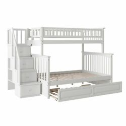 Atlantic Furniture Columbia Twin Over Full Staircase Trundle Bunk Bed
