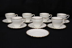 15pc Vintage J.andg. Meakin Classic White Cheltenham Gold Cup And Saucer Set England