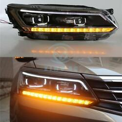2pcs Auto Fit For Passat 16-17 HeadLights LED DRL Lens Xenon HeadLamp Assembly