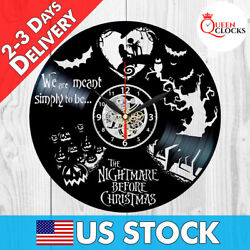 Jack Skellington Nightmare Before Christmas Vinyl Record Wall Clock Gifts Decor