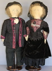 Antique Ink Drawn Faces Cloth Dolls - Sold As A Pair