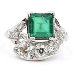 Vintage Emerald And 0.80ct Old Euro Diamond Ring Made In 14k White Gold Sizable
