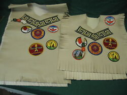 Vintage 1980s Ymca Indian Guide Vests Father And Son Custom Made + Patches 93