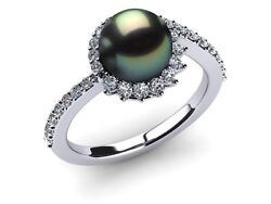 2017 Solar Eclipse Tahitian Pearl Engagement Ring