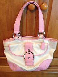 coach totes pink and white $75.00