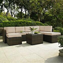 Crosley Palm Harbor 8 Piece Wicker Patio Sectional Set In Brown And Sand