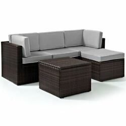 Crosley Palm Harbor 5 Piece Wicker Patio Sectional Set In Brown And Gray