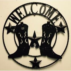 24 Welcome Cowboy Boot Stars Rustic Brown Metal Wall Art Western Home Decor