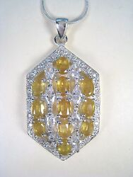 Yellow And White Sapphire Necklace 10.96 Ctw - White Gold Over 925 Sterling Silver