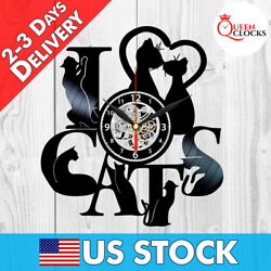 I Love Cats Animal Vinyl Record Wall Clock Black Vintage Home Decor Gift Ideas