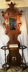 Antique Burl Walnut Victorian Hall Tree With Marble Top And Original Mirror