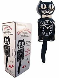 BLACK KITTY CAT CLOCK 3 4 Size 12.75quot; MADE IN USA Kit Kat NEW