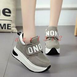 Chic Womens Platform Creeper Wedge Conceal Heel Sport Sneakers Shoes College New