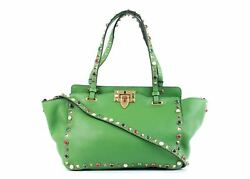 New~Valentino Women's Green Leather Tricolor Rockstud Tote Bag~RTL$2665~NWT