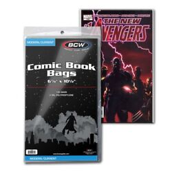 Pack Of 100 Bags Bcw Current Comic Bags 2 Mill Poly. 6 7/8 X 10 1/2 Cs48