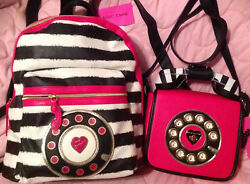 Betsey Johnson 2pc Backpack And Telephone Phone Crossbody Bag Call Me Pink New