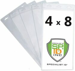 5 Extra Large 4 X 8 Clear Plastic Ticket Holder Sleeves- 3 Lanyard Holes 4x8 Tix $8.99