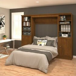 Bestar Versatile 109'' Full Wall Bed with Storage Unit in Tuscany Brown