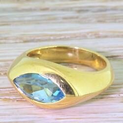 Mid Century 1.50ct Marquise Cut Topaz Solitaire Ring - 18k Gold - French, C 1960
