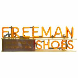 Early Neon Advertising Sign 1930s Freeman Shoes And039footwear Of Successful Menand039