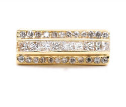 1.65 Carat Princess And Round Cut Diamond Abstract Ring Made In 14k Yellow Gold