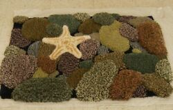 Hand Tufted Multi Level Sculpted Wool Rug - Stones. Coastal Living Collection.