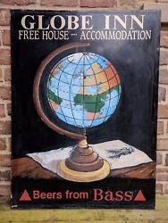 Vintage Globe Inn Hand Painted English Beers From Bass Pub Sign