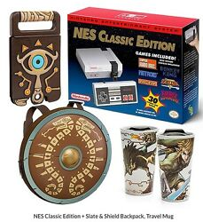 Nes Classic Edition + Slate And Shield Backpack, Travel Mug In Hand
