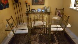 Dining Set, Brass Frame With Glass Top 63x43 W/6 Chairs And Accent Table