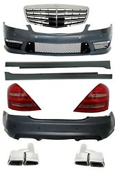 For Mercedes W221 S63 AMG Body Kit Bumper Side skirts Grill Exhaust LED Tail Lig