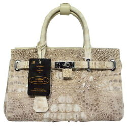 Authentic M Crocodile Skin Womens Hornback Locked Clutch Bag Purse Handbag