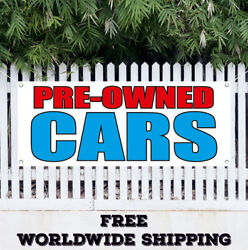 Banner Vinyl Pre-owned Cars Advertising Sign Flag Used Preowned Trucks Auto