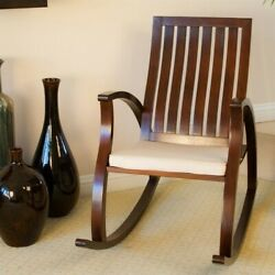 Noble House Angela Rocking Chair With Cushion In Brown Mahogany