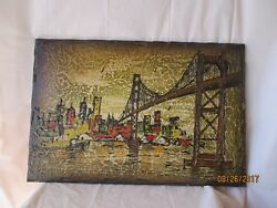 Golden Gate Bridge Wall Plaque - Hand Painted - 16 X 23 - Free Shipping