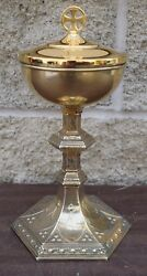 + Older Ciborium + Sterling Silver + Cover Is Brass + Mg46 Church Chalice