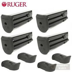 Four Ruger Sr22p Mag-10 .22 Caliber Magazines W/ Extensions 90382 Fast Ship